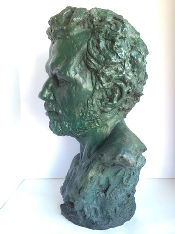 Martine Vaugel (French/American, 20th Century), Portrait Bust of a Bearded Man, patinated bronze sculpture