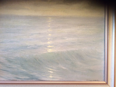 Frank William Cuprien (American, 1871-1948) Seascape at Sunset, oil on canvas laid on board, signed