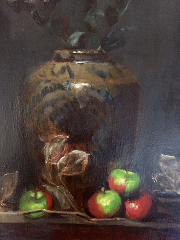 Attr. to Motoko Ikeda Spiegel (Japanese/American, 1928-2000), Chinese Vase and Apples, oil on canvas, unsigned, 20th century