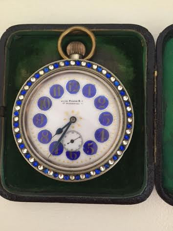 Swiss Gold-Plated Travel Clock, retailed by John Pound & Co., 87 Piccadilly, London, ca. 1890, in a later English Silver Case