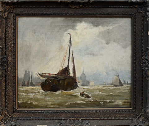 "Walter Franklin Lansil (American, 1846-1925), ""The Coming Shower at Dordrecht, Holland"", 1903, oil on canvas, signed, framed"
