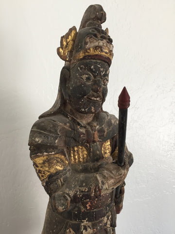 Chinese Lacquered and Gilded Carved Wood Guardian Figure, Qing Dynasty