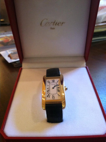"Men's 18K Yellow Gold ""Tank Americaine"" Quartz Wristwatch, Cartier Watch Company, Switzerland, ca. 1990s, leather band, with paperwork"
