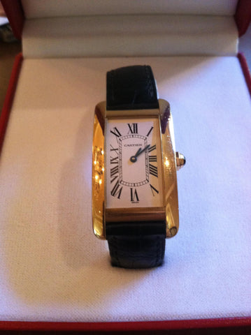 "Men's 18K Yellow Gold ""Tank Americaine"" Quartz Wristwatch"
