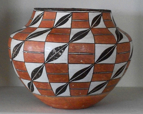 Acoma Black and White Painted Pottery, Olla, ca. 1940s