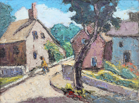 "Harry Hering (American, 1887-1967), ""House on Street of Provincetown"", oil on masonite, 20th century"