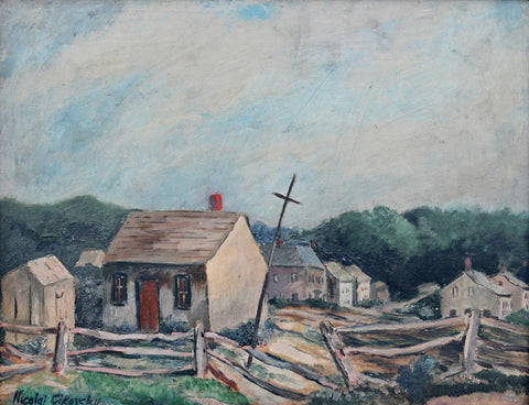 Nicolai Cikovsky (Belorussian/American, 1894-1987), Landscape, probably Long Island, New York, oil on masonite, signed, 20th century