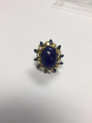 18K Yellow Gold, Diamond and Lapis Lazuli Ring, early 20th century
