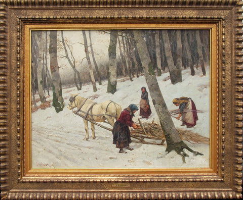 Attributed to Julius Lindner (19th Century), Winter Landscape, oil on canvas, signed