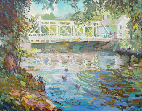 "Lee W. Hughes (American, 1930-2014), ""October - The Bridge at Califon"", 1992, oil on canvas, signed"