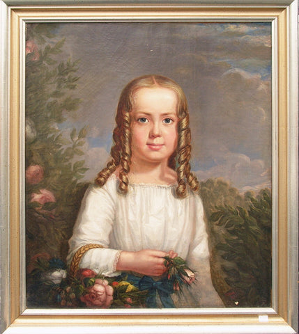 Attributed to Theodore E. Pine (American, 1828-1905), Two Early American portraits of a boy and girl, signed, ca. 1840s