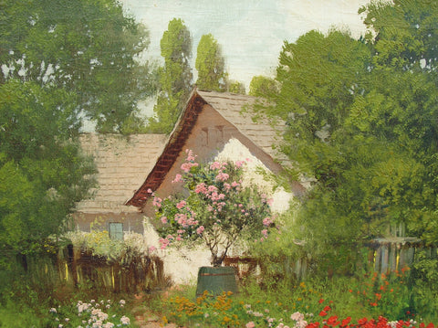 Laszlo Neogrady (Hungarian, 1896-1962), Cottage with garden and watering can, oil on canvas, signed