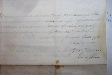 Partly-Printed Land Grant, James Monroe (1758-1831), one page on vellum, signed by President Monroe and Commissioner George Graham, 1824