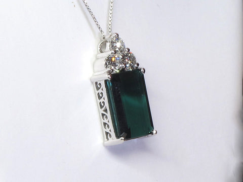 14k White Gold, Tourmaline and Diamond Pendant, 21st century