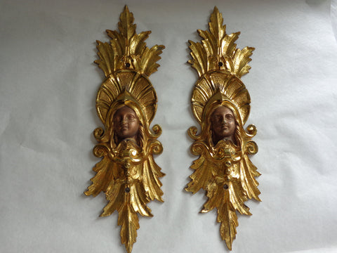Pair of Continental Patinated and Gilt Bronze AppliquéŽs, probably 19th century