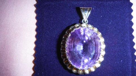 Mexican 14K White Gold and Amethyst Pendant, 20th century