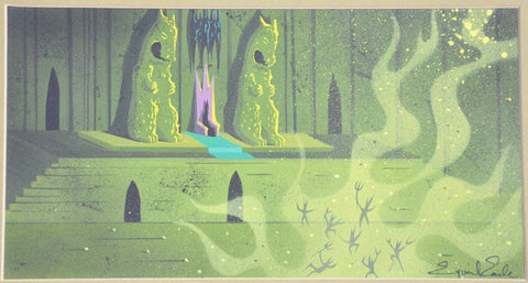 "Eyvind Earle (American, 1916-2000), Maleficient, study for Disney's ""Sleeping Beauty"", ca. 1950s, gouache, signed"
