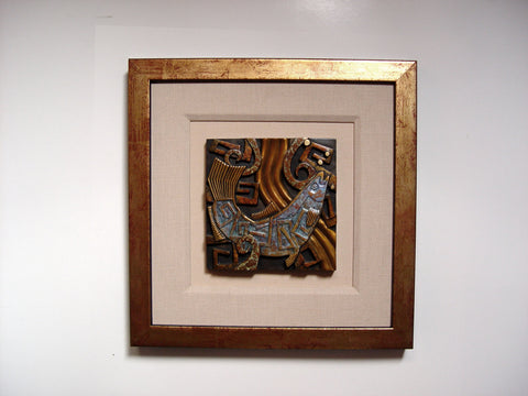 Tammy Garcia (Native American, b. 1969), Untitled (Salmon), patinated bronze tile, signed and numbered