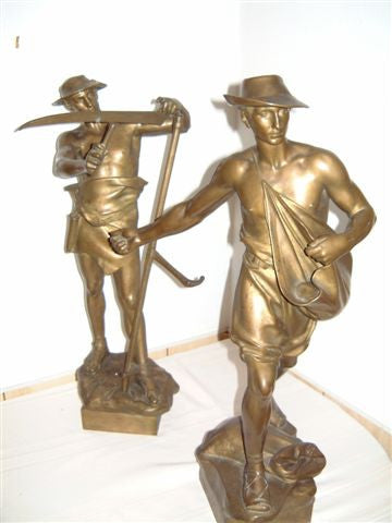 "August Kuhne (Austrian, 1845-1895), ""Reaper and Sower"", pair of gilt-bronze figural sculptures, signed in the cast"