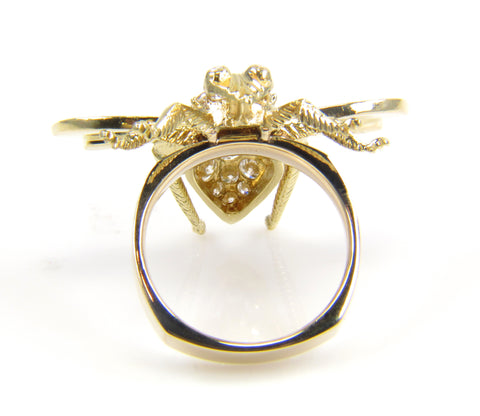 18K Yellow Gold and Diamond Bee Ring, contemporary