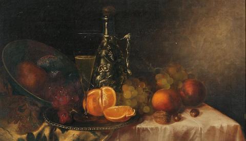 Morston Constantine Ream (American, 1840-1898), Tabletop Still Life with Fruit and Wine, oil on canvas, signed