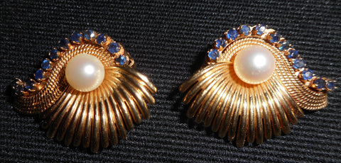 "Pair 14K Yellow Gold, Pearl and Sapphire Earrings ""Fan Style"", ca. 1950, with clip backs"
