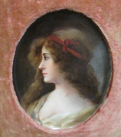 Painted Porcelain Plaque of a Young Woman, Haviland & Cie.