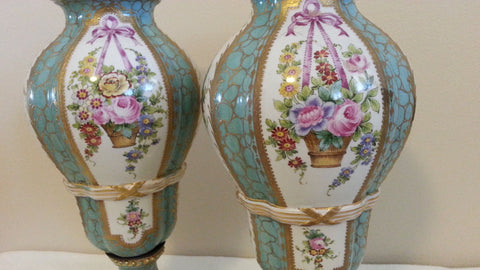 Pair of French Sevres Style Porcelain Lidded Vases, ca. 1900
