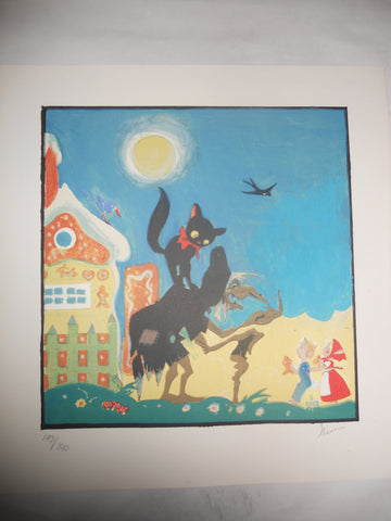 "Einar Nerman (Swedish, 1888-1983), ""Hansel and Gretel"" and ""The Frog Princess"", two lithographs, signed, numbered"
