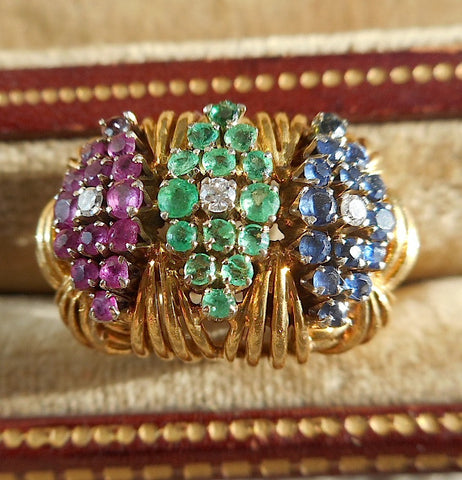 18K Yellow Gold, Emerald, Sapphire, Ruby and Diamond Ring, 20th century