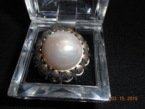 14K White Gold & Mabé Pearl Ring, ca. 1960s