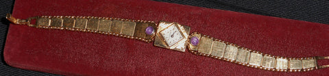 "Ladies 14K Yellow Gold and Star Ruby Bracelet Watch, ""La Femme"", Fairfax Watch Co., 17J movement, ca. 1960"