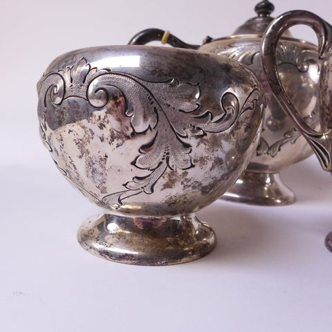 American Silver Five Piece Tea and Coffee Service, Dunkirk Silversmiths, Meriden, CT, ca. 1945-50