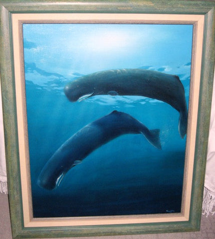 Robert Wyland (American, b. 1956), Untitled (Two Sperm Whales), 1982, oil on canvas, signed