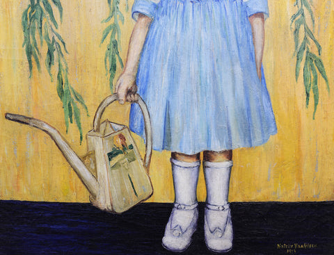 Natalie Van Vleck (American, 1901-1981), Young Girl with a Watering Can, 1919, oil on canvas, signed