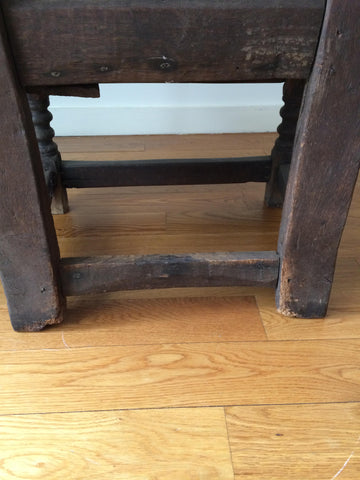 English Carved Oak Wainscot Armchair, probably 16th century