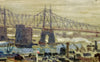 Eric Isenburger (American, 1902-1994), View of the East Side of New York City, oil on canvas, signed