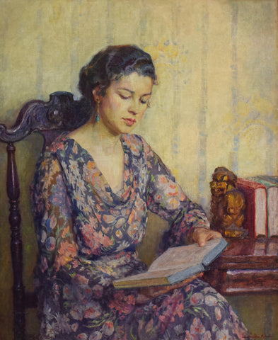 Lee Lufkin Kaula (American, 1865-1957), Reading Woman, oil on canvas, signed