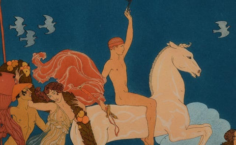 "Georges Barbier (French, 1882-1932), ""Le Cavalier Blanc"" (The White Horse), hand colored lithograph, ed. 268/500"