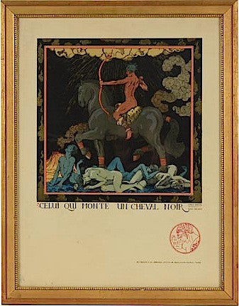"Georges Barbier (French, 1882-1932), ""Celui Qui Monte Un Cheval Noir"", hand colored lithograph, numbered"