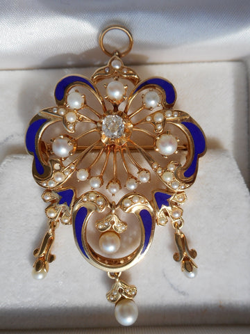 Art Nouveau Style 14K Yellow Gold, Enamel, Diamond and Pearl Pin/Pendant