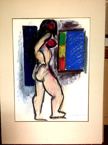 Hans Burkhardt (Swiss/American, 1904-1994), Untitled (Standing Female Nude), 1971, pastel on paper, signed and dated