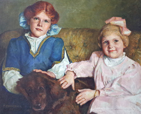 May Bartlett Fairchild (American, 1872-1959), Portrait of Two Girls and A Dog, 1948, oil on canvas, signed