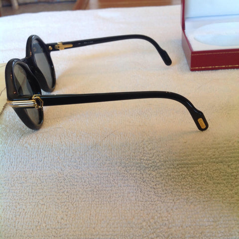 "Must de Cartier ""Cabriolet"" Black and Gold Tone Sunglasses, ca. 1991, including case and polishing cloth"