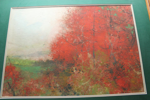 "Chen Chi, ""Autumn Red"", watercolor and gouache on paper, signed and stamped"