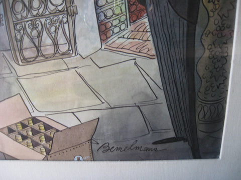 Ludwig Bemelmans (Austrian/American, 1898-1962), Wine Cellar (Walker Deluxe Bourbon), watercolor on paper, signed