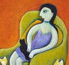 Regina Noakes (Australian, Contemporary), Untitled (Woman with Cat), oil on canvas, signed