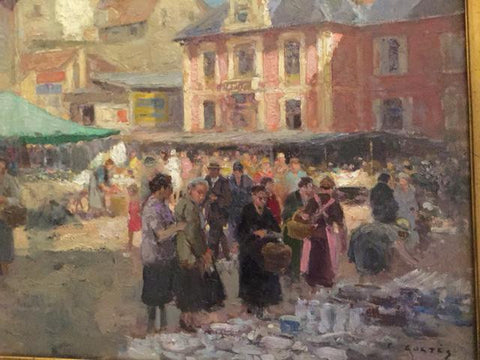 "Edouard-Léon Cortès (French, 1882-1969), ""Marché de Lagny"", oil on canvas, signed"
