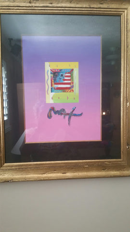 "Peter Max (American, b. 1937), ""Flag with Heart"", mixed media, signed"