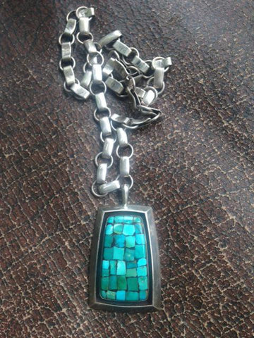 Frank Patania, Sr. (American, 1899-1964), Sterling Silver and Inlaid Turquoise Pendant on Silver Chain, ca. 1960, marked